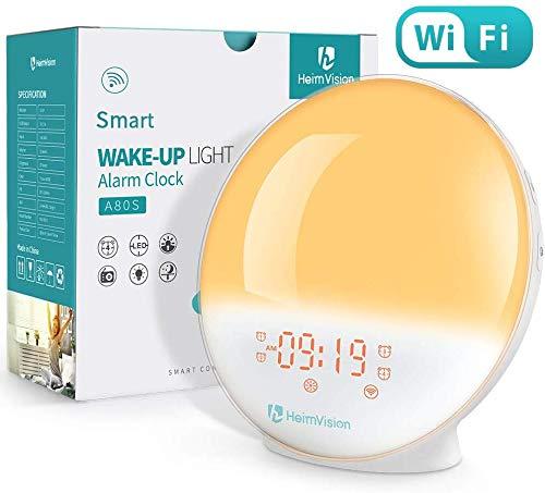 WiFi 目覚まし時計 光 目覚ましライト スマート時計 Alexa/Google homeで制御 デジタル時計 スヌーズ機能 自然音 ホワイトノイズ 快眠グッズ FMラジオ 20段階調光 HeimVision A80S