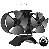 Sonyabecca 8 Blade Stove Fans Heated Powered Stove Fans Fireplace Fan with Double Motor Magnetic Themometer for Fireplace Wood Burning Stove