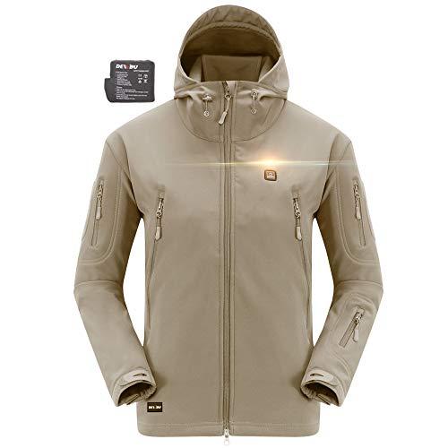 DEWBU verwarmde jas met 7.4V accu verwarmbare jas 8 kleuren softshell voor outdoor