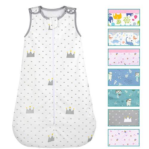 Viedouce Saco de Dormir para Bebé,Saco de Dormir de Algodón Bio para Bebés,Súper Suave,Longitud 80cm para Niño Niña(1 Tog,3-18 Meses) (1 TOG, colour-004)