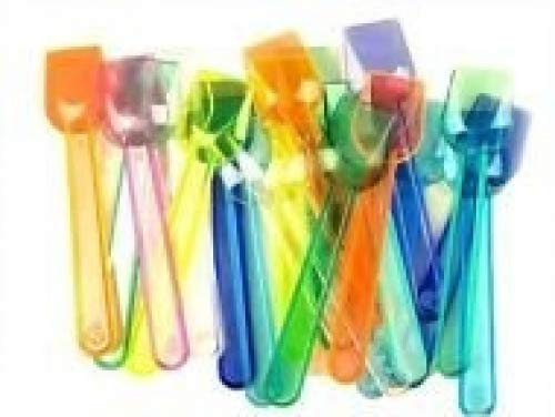 100 x Neon Plastic Ice cream/dessert spoons by HDIUK
