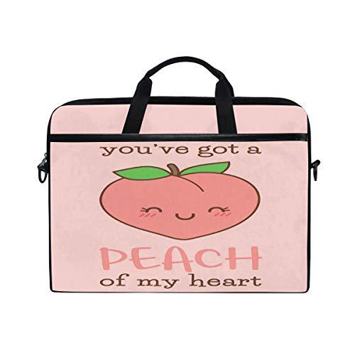 HAIIO Laptop Bag Case Cute Emoticon Fruit Peach Quote Computer Protector Bag 14-14.5 inch Travel Briefcase with Shoulder Strap for Women Men Girl Boys