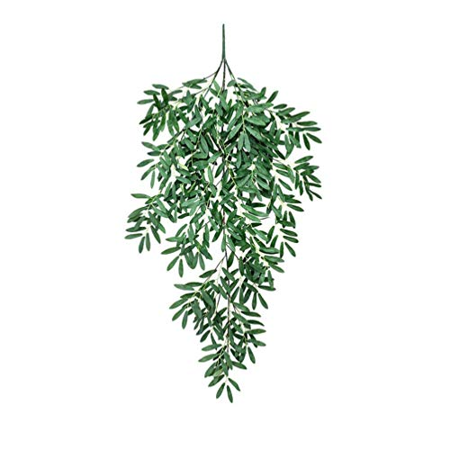 lqgpsx Artificial Olive Leaf Branches Hangings Fake Olive Stems Greenery Eucalyptus Spray for Door Wall Window Christmas Decor (Green)