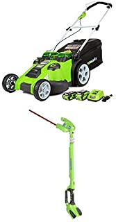 Greenworks 20-Inch 40V Twin Force Cordless Lawn Mower with 20-Inch 40V Cordless Pole Hedge Trimmer Battery Not Included 22342