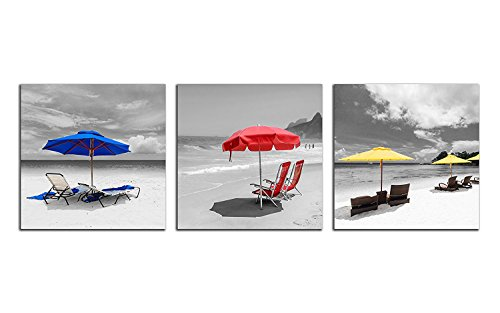 NAN Wind 3pcs 12X12inches Ocean Beach Canvas Prints Black and White Wall Art Beach Chair with Umbrella Pictures on Canvas Stretched and Framed Ready to Hang for Home Decor