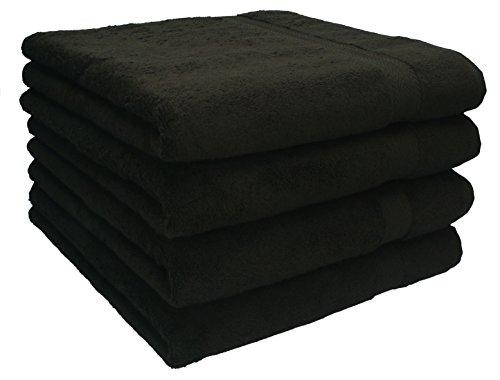 Betz Lot de Serviettes Set de 4 Serviettes de Toilette Taille 50x100 cm 100% Coton Premium Color Brun foncé