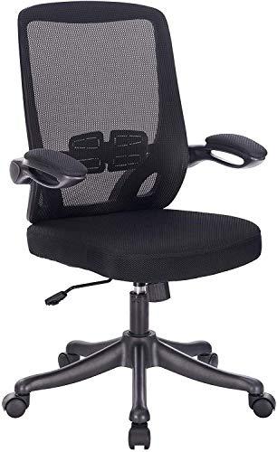 WRDY Silla de ordenador para el hogar, oficina, silla ergonómica, silla de escritorio con reposabrazos abatibles y soporte lumbar, color negro.