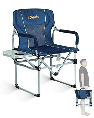 iClimb Heavy Duty Compact Camping Folding Director Mesh Chair with Side Table and Handle