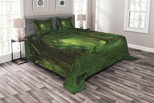 ABAKUHAUS Natur Tagesdecke Set, Tropische Dschungel Bäume, Set mit Kissenbezügen farbfester Digitaldruck, für Doppelbetten 220 x 220 cm, Grün