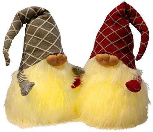 Christmas Paradise Deko Weihnachts-Wichtel 40cm im 2er Set mit LED Warmweiß Zwerg Gnom 2 Designs