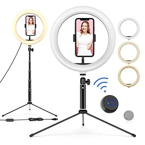 Ringleuchte mit Stativ, 10'' LED Selfie Ringlicht Stativ mit Fernbedienung, Handyhalter und 3 Farbe...