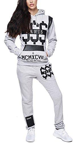 Violento Damen Jogginganzug Jogging Hose Jacke Paris Dollar Sportanzug Sporthose Fitness Hoodie Grau XL