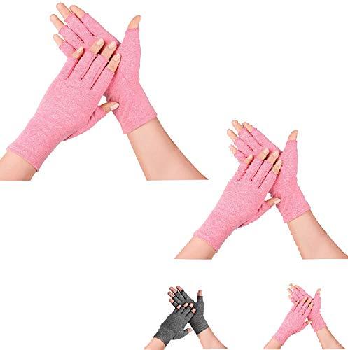 SupreGearWomen'sArthritisGloves (2 Pairs),RheumatoidArthritisCompressionGlovesforArthritisHands,PainReliefGamingTypingFingerlessGlovesforLadies,Elders