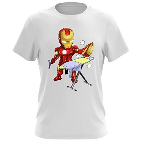Okiwoki - Maglietta da uomo con scritta 'Tony Stark e Iron Man', con scritta in francese 'Il supereroe del Quotidiano' bianco XL