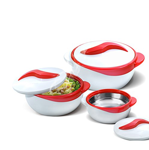 Set of 3 Thermo Dish Hot or Cold Casserole Serving Bowls with Lids Red by Pinnacle Thermoware
