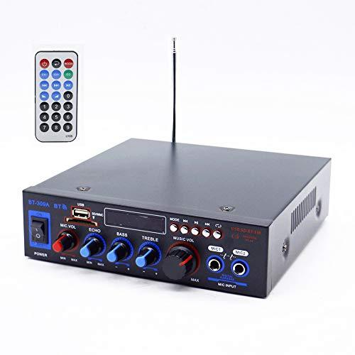 XMAGG MIini Amplificador Karaoke Bluetooth 100W + 100W Entrada 2 Micrófonos con Volumen de Mezcla y Echo Radio FM .Entradas SD/USB con Mando a Distancia