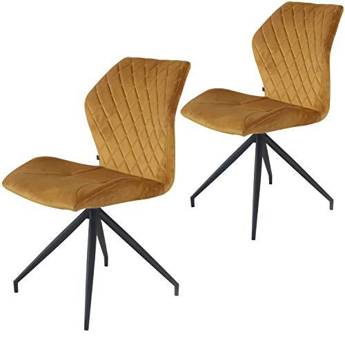 Rocky Esszimmerstühle 2er Set | Design Stuhl mit Stoffbezug (Samt Ockergelb)