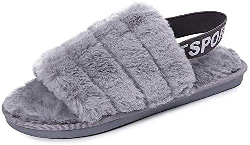 Flip Flop Womens Bont Slippers Winter Schoenen Big Size Home Slippers Dames Indoor Warm Fluffy Katoen Bont Dias Schoenen-Grijs_37 i Improve