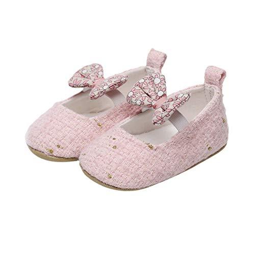 JINSIJU Baby Spring Flat, Bowknot decorativo sin cordones con suela antideslizante para niñas de 0 a 24 meses