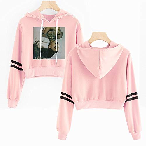 Xdsy Ariana Grande Damen Navy Kapuzenpullover kurzes T-Shirt,pink-2,XL