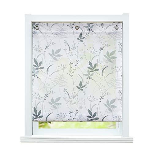 ESLIR Tenda a pacchetto senza forature, con occhielli, trasparente, con asole, con occhielli a U, stile moderno, bianco, motivo a foglie, larghezza x altezza 80 x 140 cm, 1 pezzo