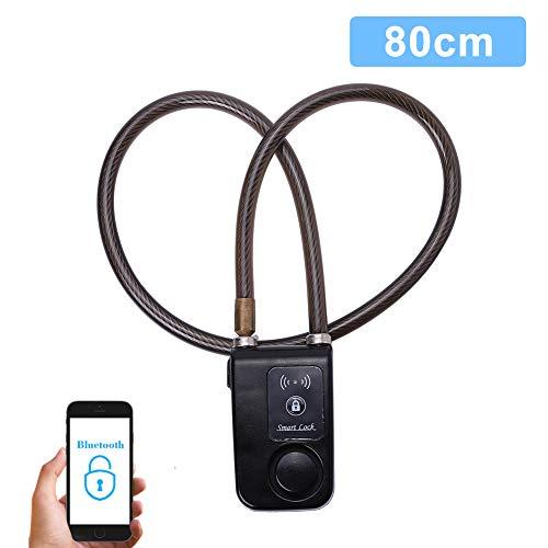 VGEBY Smart Bluetooth Fahrradschloss Radschloss für Fahrrad Anti Diebstahl 110dB Alarm wasserdichte Schloss Lock für IOS Android Smartphone (Farbe : Schwarz)