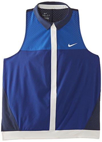 Nike Damen Ärmelloses Polo Hemd Premier Sleeveless, Blau/Elfenbein, L
