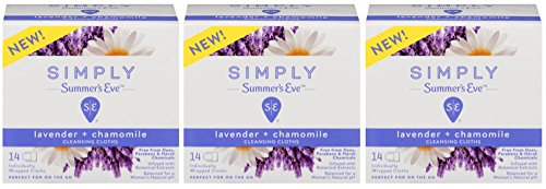 Summer's Eve Simply Cloths 14 Pack of pH Balanced Free from Harsh Chemicals Dyes, White, Lavender and Chamomile, 3 Count