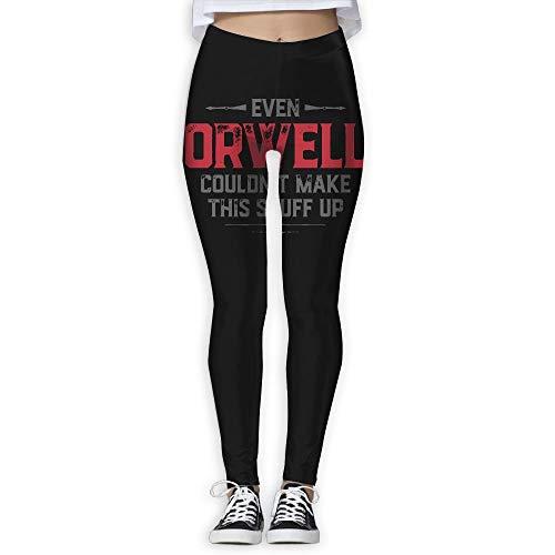 Sogar Orwell konnte Dieses Zeug Nicht herstellen Frauen Druckten Yoga-Trainingsgamaschen in voller Länge für das Laufen im Freien Größe L