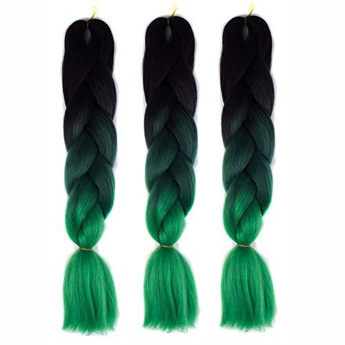 FAKUAI Braids Extensions Kunsthaar Crochet Jumbo Braids Synthetik Braiding Hair 3 Pcs 100g/Bündel 60cm Extensions
