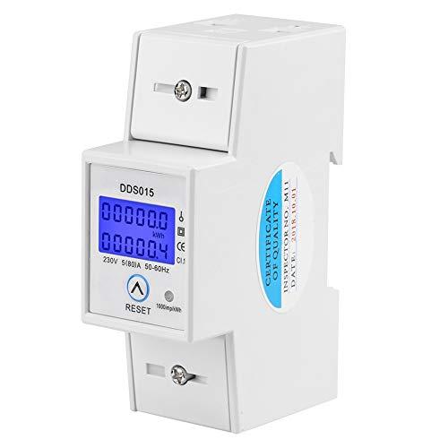 Compteur d énergie monophasé avec affichage LCD Compteur d électricité 35mm Compteur électrique numérique monophasé à 2 fils Rail DIN 230V Compteur d énergie 50Hz 5 (80) A