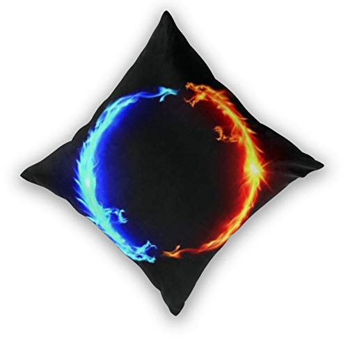 3D Print Throw Pillow Cover Case,Ring Of Blue And Red Fiery Dragons,Modern Pillowcase for Sofa Couch Bed Car Set Home Decor 22'x 22' Pillowcase Cushion Covers Zipper 2pcs