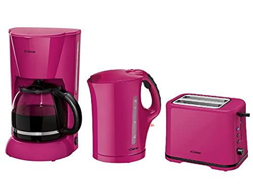 BOMANN Frühstücks-Set Brombeere (Kaffemaschine+Toaster+Wasserkocher)