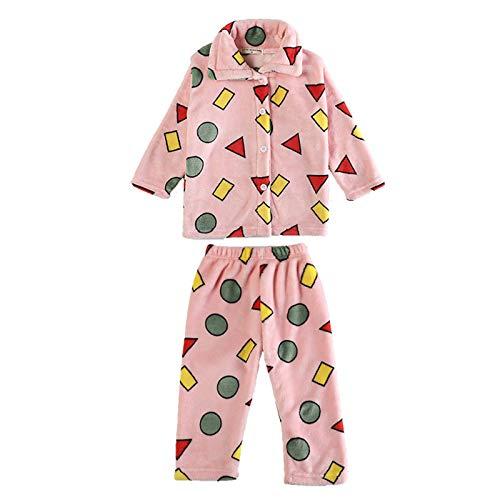 Amuse-MIUMIU Baby Jungen Mädchen Cartoon verdicken Schlafanzug Flanell Winter Pyjama,Schlafanzug mit Knopfleiste Langarm Zweiteiliger Hausanzug, für 1-7 Jahre