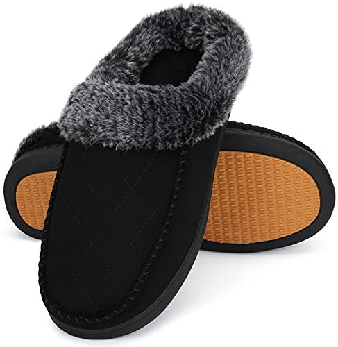 Mishansha Hombre Mujer Zapatillas de Estar por Casa Calentitas Zapatillas de Casa Cómodas y Antideslizante Pantuflas de Invierno Zapatos de Espuma Viscoelastica, Tinta Negro, 42 EU