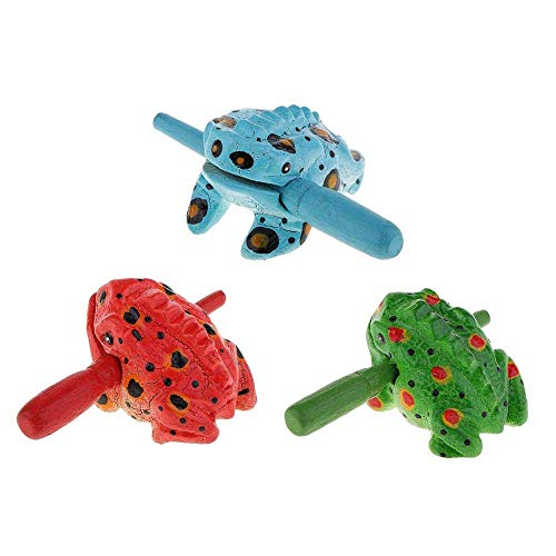 PA Decorations Sculpture 3X Traditiocraft Wooden Luck Frog Art Figurines Home Ornaments