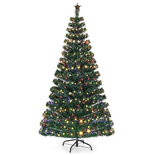 Homeura 7' LED Fiber Optic Artificial Christmas Trees, Premium Spruce Artificial Holiday Christmas Trees for Home - Green