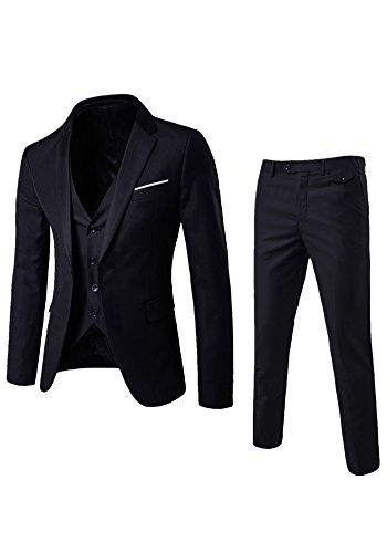 EUROUS Men's Business Casual Suit 3 Pieces Groom Best Man Set Tuxedo (L, Black)
