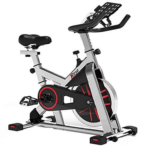 TRYA Spin Bike, Belt Drive Indoor Cycling Bike Stationary with Ipad Mount, 35 LBS Flywheel Workout Bike for Home Cardio Gym with Comfortable Seat Cush