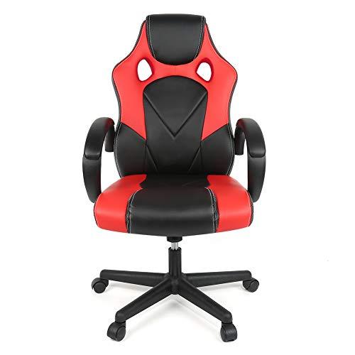 Bureaustoel Gaming Stoel, 360 Graden Rotatie en Verstelbare Hoogte (42-48 cm) voor Kantoor, Conferentie (Rood-Zwart)
