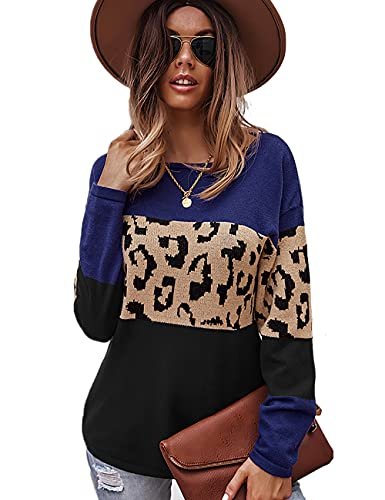 HESUUIO Leoparden - Jersey sexy de manga larga para mujer, cuello redondo, estilo casual, túnica, azul marino, L