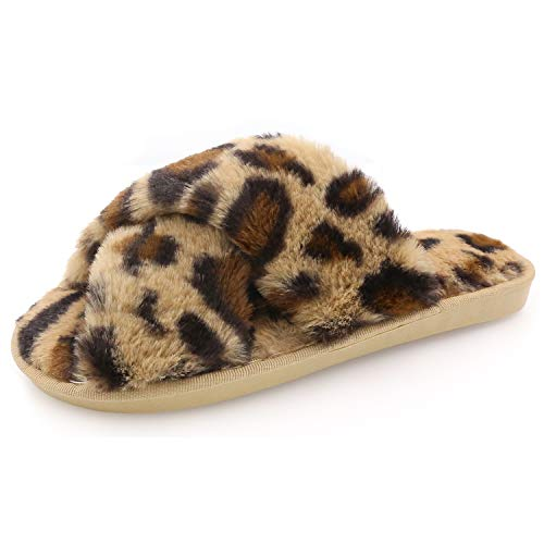 Womens Fuzzy Slippers Sandals Leopard Plush Open Toe Faux Fur Fluffy House Flats Slippers Cross Band Soft Warm Comfy Cozy Bedroom Slide Slippers (US 7.5-8.5, Brown Leopard)