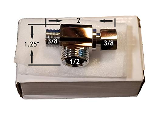 GenieBidet 3/8 X 3/8 X 1/2 Inch T Connector. Connects At Your 3/8 Water Supply Instead Of Your 7/8 Toilet Tank Inlet. Your bidet must have a 1/2 water supply [Please see pics at left]