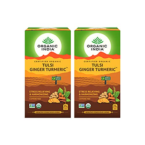 Organic India Tulsi Ginger Turmeric Tea - 25 Infusion Bags (Pack of 2)