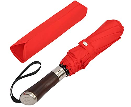 (Designed in UK) Balios Travel Folding Umbrella Luxurious Rosewood Handle Auto Open & Close Windproof Single Canopy (Vibrant Red)