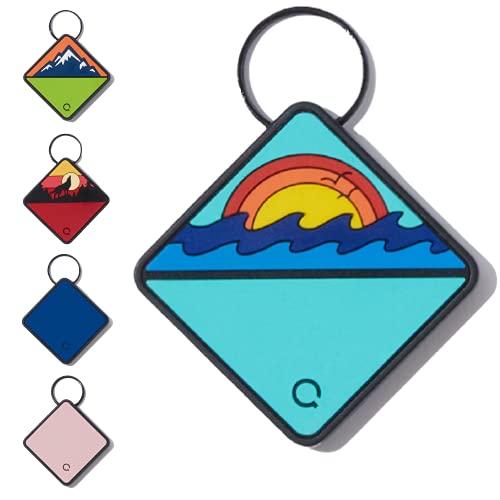 QALO TraQ Ocean Sunrise Silicone Dog ID Tag - Powered by Tile - Bluetooth Location Tracker