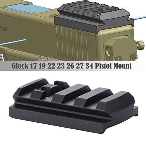 TuFok Glock Sight Mount Plate - Glock 17 19 22 23 26 27 34 Rail for Install Pistol Red Dot Sight