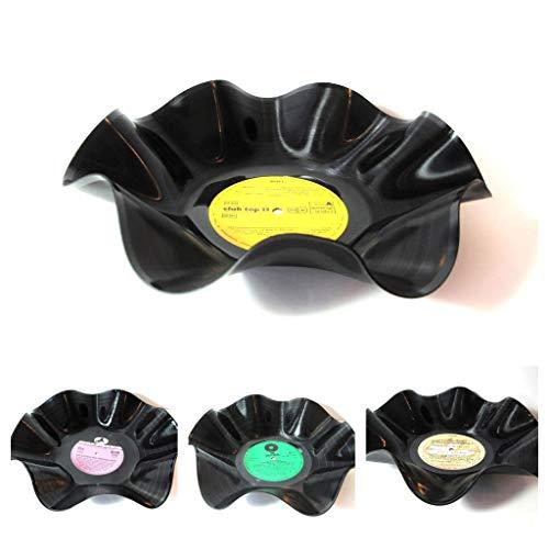 Schale aus Schallplatte - Handarbeit - Original Retro Upcycling Deko Geschenkidee Musikfan Plattenliebhaber (Farbwahl zufällig)