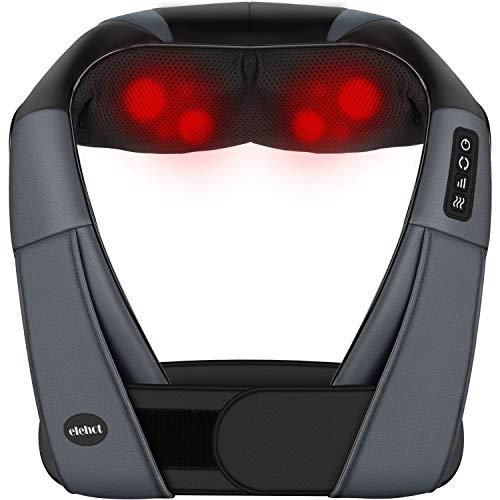 Massaggiatore Cervicale e da Collo Pedi Schiena Shiatsu 4D Massaggiatore Elettrico Tre Velocità Terapia Riscaldamento Cambio Direzione con Cintura Cavo Accendisigari ELEHOT