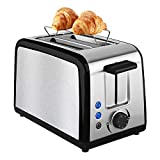 Toaster 2 Slice, Compact Bread Toasters 2 Slice Best Rated Prime with 7 Browning Settings Quickly Toasts Defrost Reheat Cancel Button Removable Crumb Tray, KEEMO